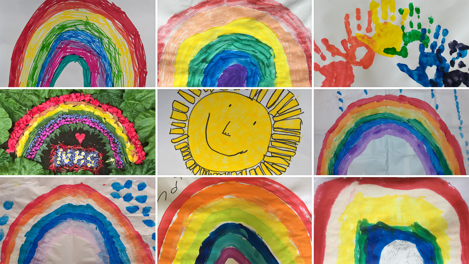 Rainbow pictures and paintings produced during the coronavirus lockdown in Menston